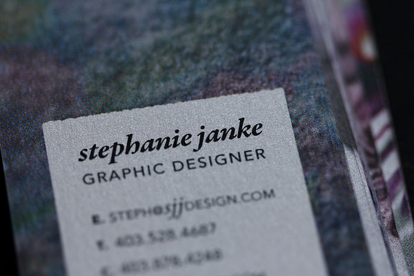 Stephanie Janke Shimmer Business Cards Detail