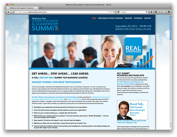 Medicine Hat Leaders in Business and Leadership Summit 2011 Website