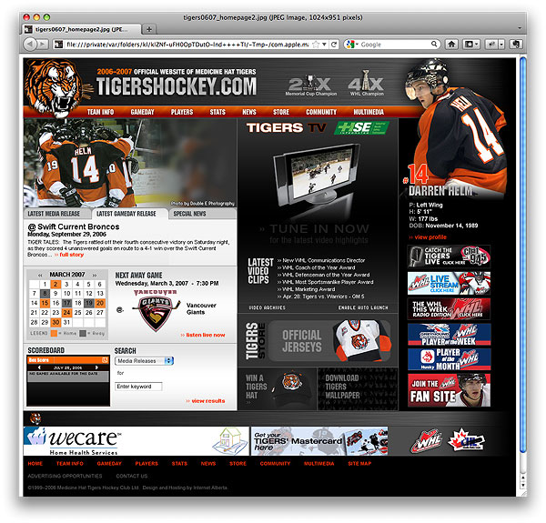 Tigershockey.com Proposed Home Page Layout