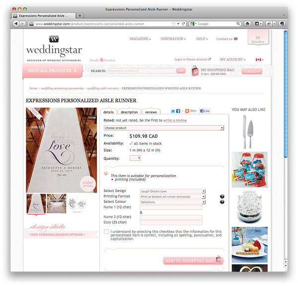 weddingstar.com Product Page